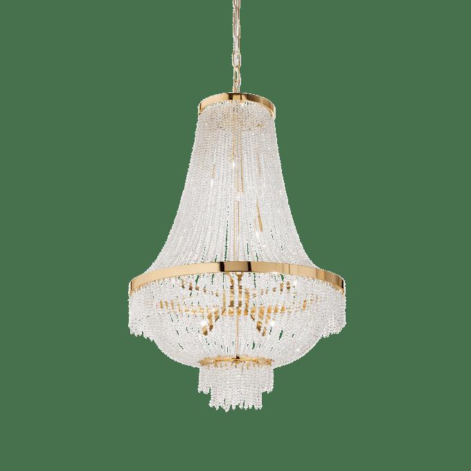 Lámpara colgante de Cristal y color Oro