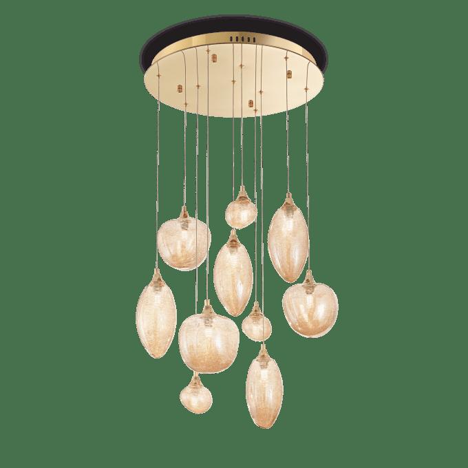 Lámpara colgante de Cristal y color Latón