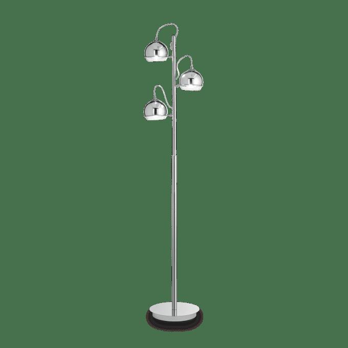 Lámpara de pie de Vidrio Soplado y color Cromo