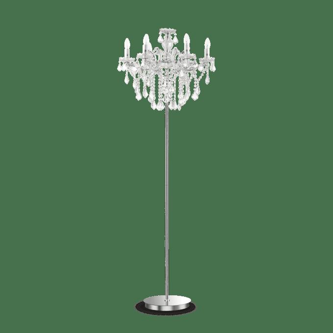 Lámpara de pie de Cristal y color Cromo