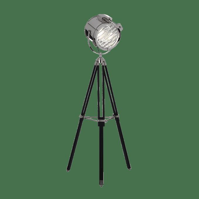 Lámpara de pie de Madera y color Cromo