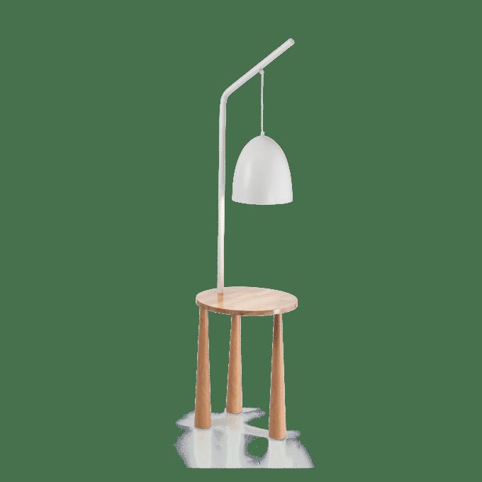 Lámpara de pie de Madera y color Blanco