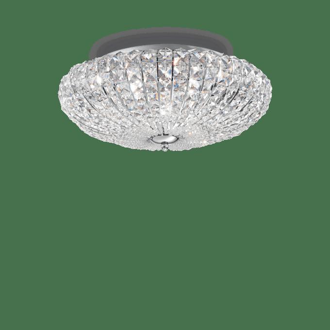 Lámpara de techo de Cristal y color Cromo