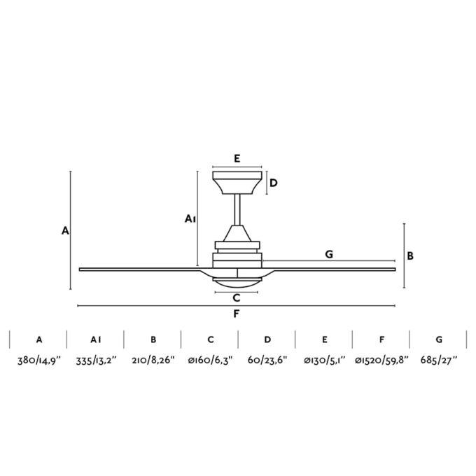 medidas Alo 152: Ventilador con luz negro