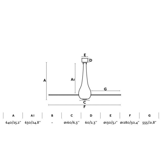 medidas Eter 128: Ventilador sin luz cristal