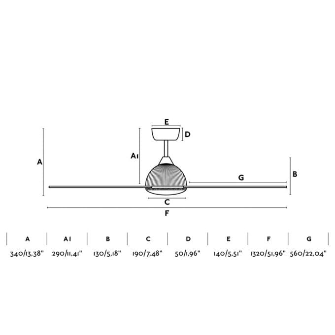 medidas Grid 132: Ventilador con luz blanco