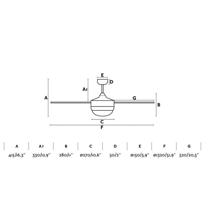 medidas Icaria 132: Ventilador con luz aluminio