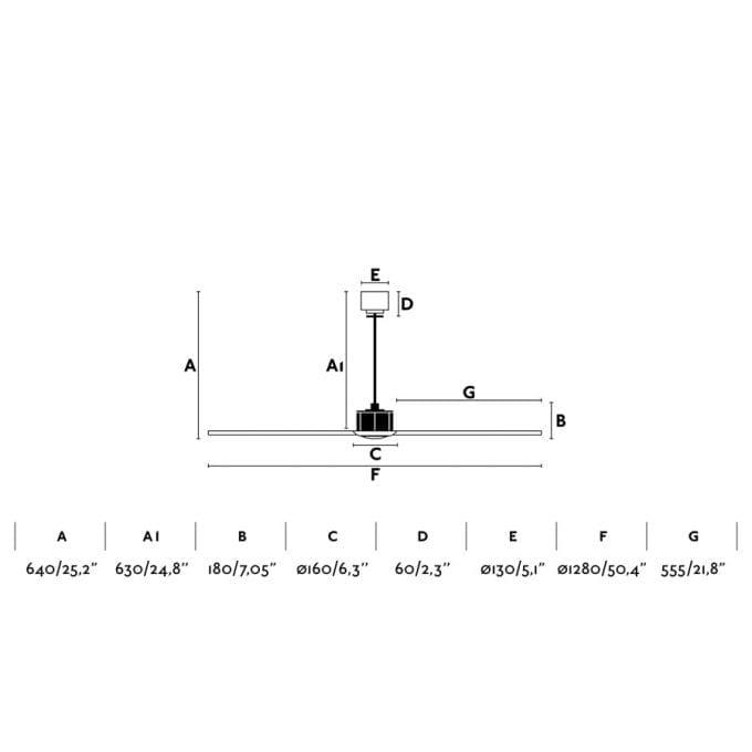 medidas Just Fan 128: Ventilador sin luz cobre