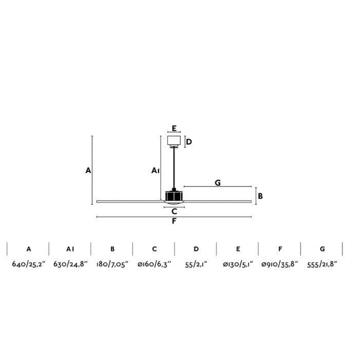 medidas Just Fan 81: Ventilador sin luz cobre