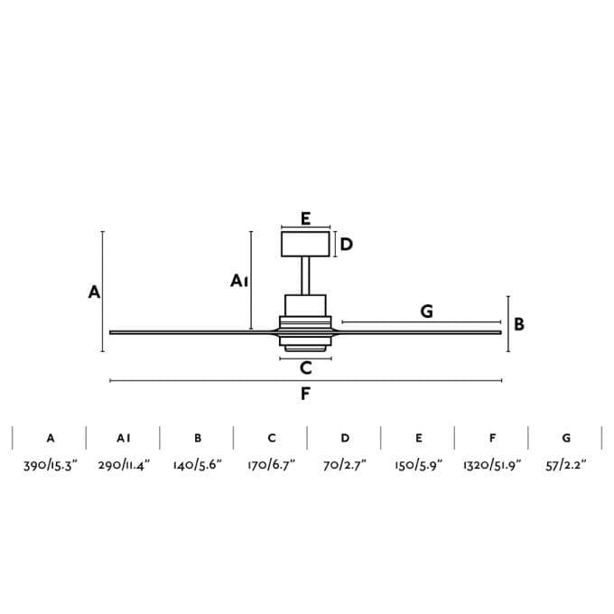 medidas Lantau 132: Ventilador con luz niquel