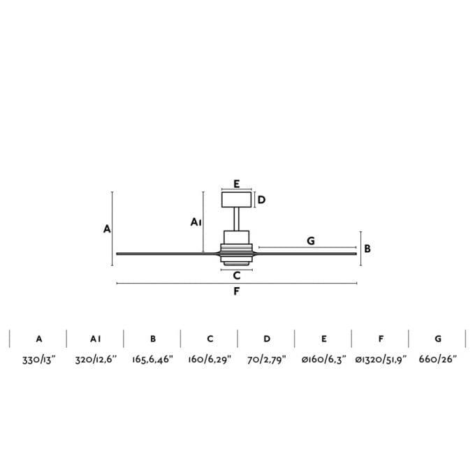medidas Lantau 132: Ventilador sin luz niquel