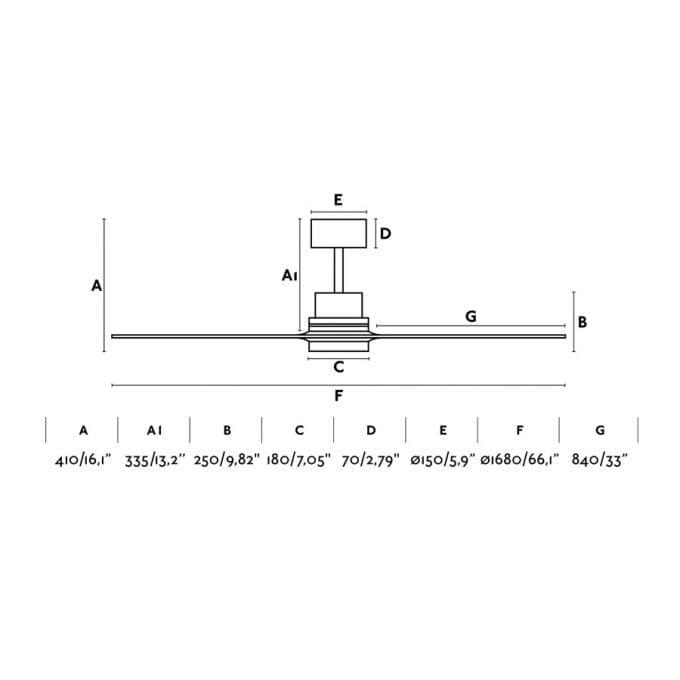 medidas Lantau 168: Ventilador con luz niquel