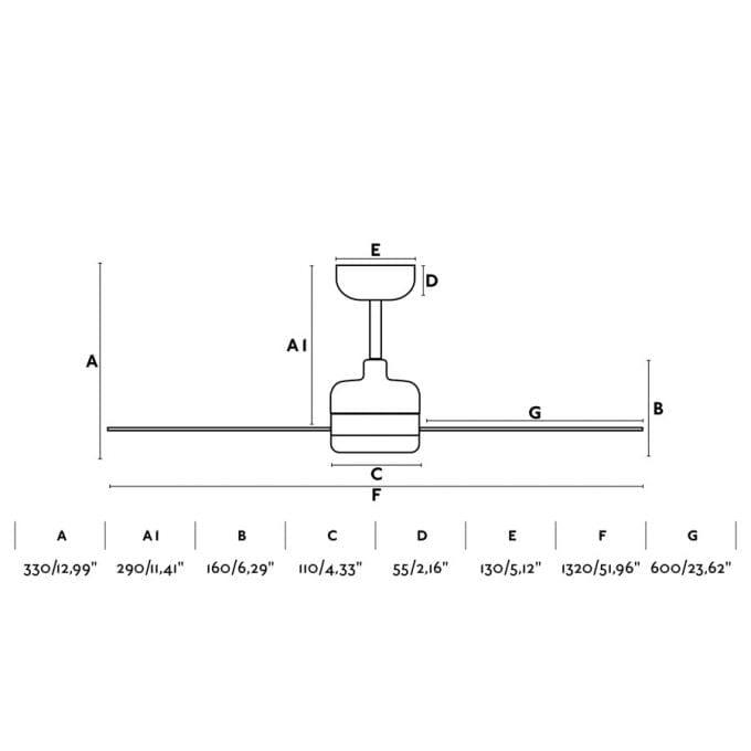 medidas Nu 132: Ventilador con luz blanco