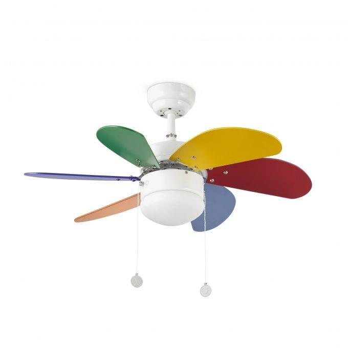 Palao 81: Ventilador con luz multicolor con 6 de Faro Lorefar