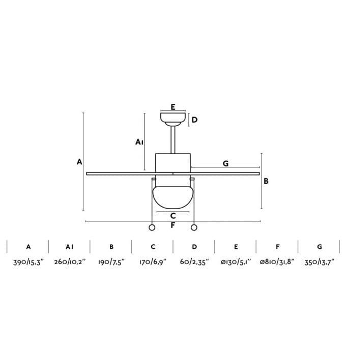 medidas Palao 81: Ventilador con luz niquel