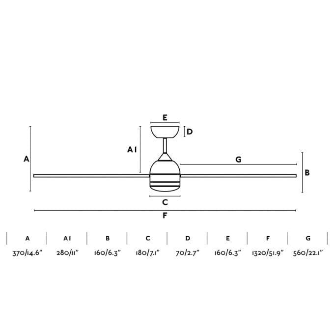 medidas Poros 132: Ventilador con luz blanco