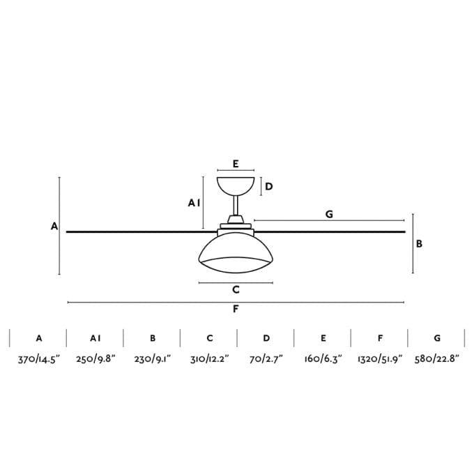 medidas Rodas 132: Ventilador con luz blanco