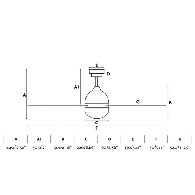 medidas Tabarca 132: Ventilador con luz blanco