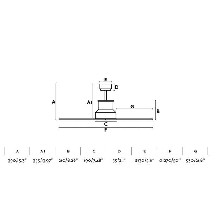 medidas Winche 130: Ventilador sin luz cromo